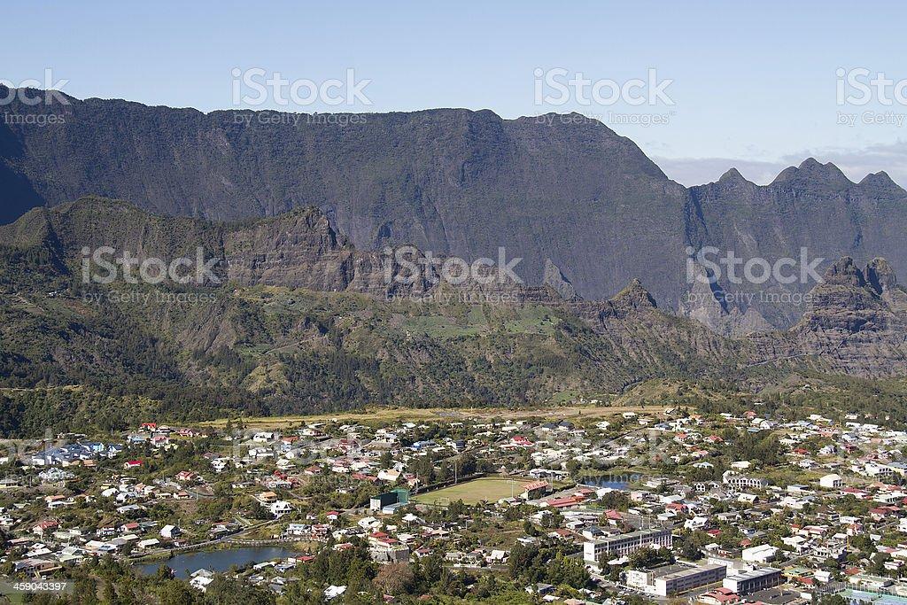 Cilaos, village, Reunion Island, Mountain, France Village de Cilaos, île de la réunion, France. Awe Stock Photo