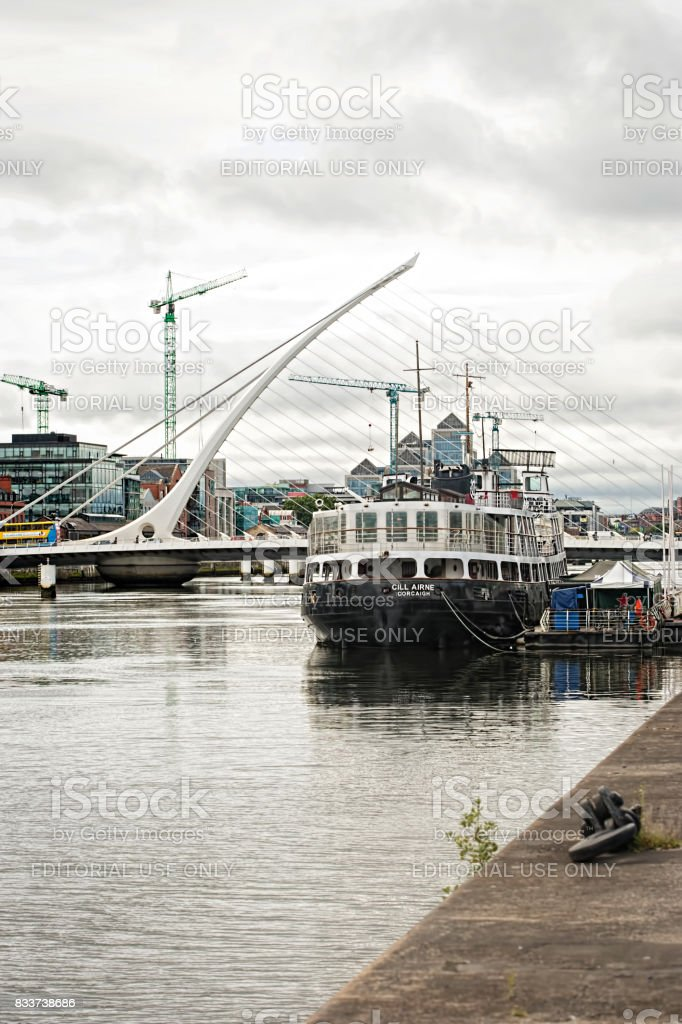 Cill Airne floating on Liffey River, North Wall Quay. Dublin. This beautifully restored ship is a unique place for dinner. Dublin, Ireland. 16 August 2017 stock photo