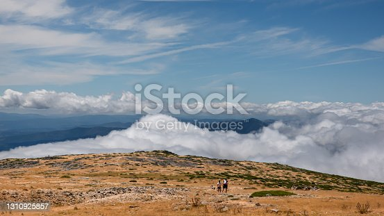 At the top of the Serra da Estrela Natural Park, Portugal with low clouds