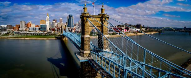 Cincinatti_OH Skyline_John Roebling Bridge stock photo