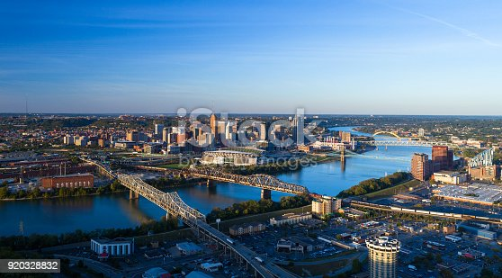 Cincinnati skyline aerial at the golden hour with multiple bridges, the Ohio River, and Covington, Kentucky in the foreground, and Cincinnati, including Downtown Cincinnati, in the background.