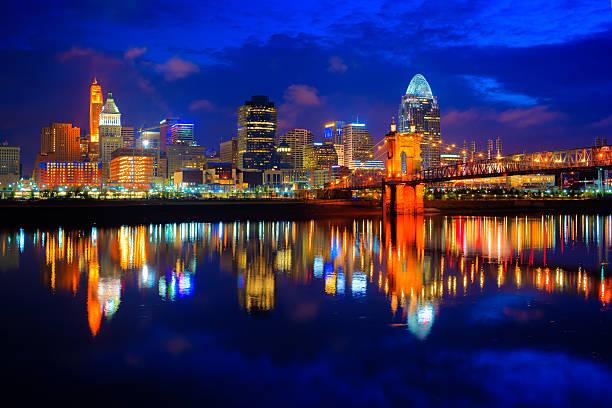 Cincinnati at Sunrise Cincinnati Ohio at sunrise reflected in the Ohio River cincinnati stock pictures, royalty-free photos & images