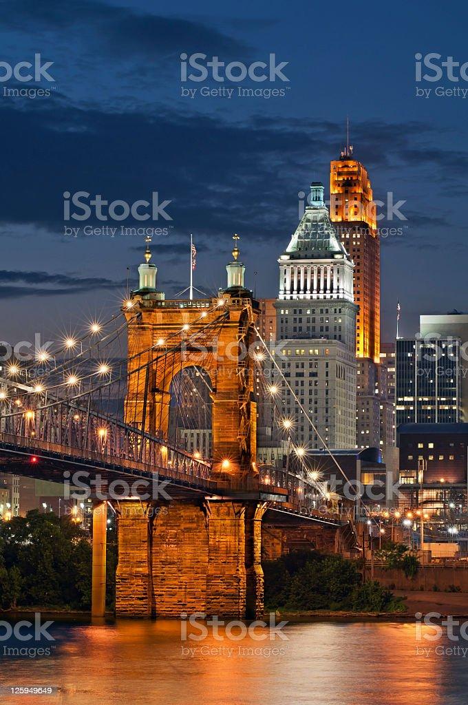 Cincinnati bridge and sky line at night stock photo