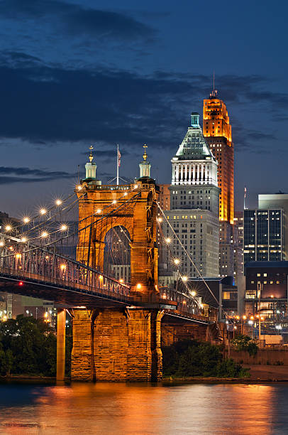 Cincinnati bridge and sky line at night Image of Cincinnati cityscape at night. cincinnati stock pictures, royalty-free photos & images