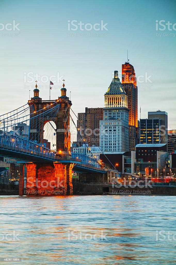 Cincinnati downtown overview stock photo