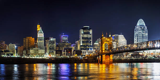 Cincinnati downtown panoramic overview Cincinnati downtown panoramic overview in the night cincinnati stock pictures, royalty-free photos & images