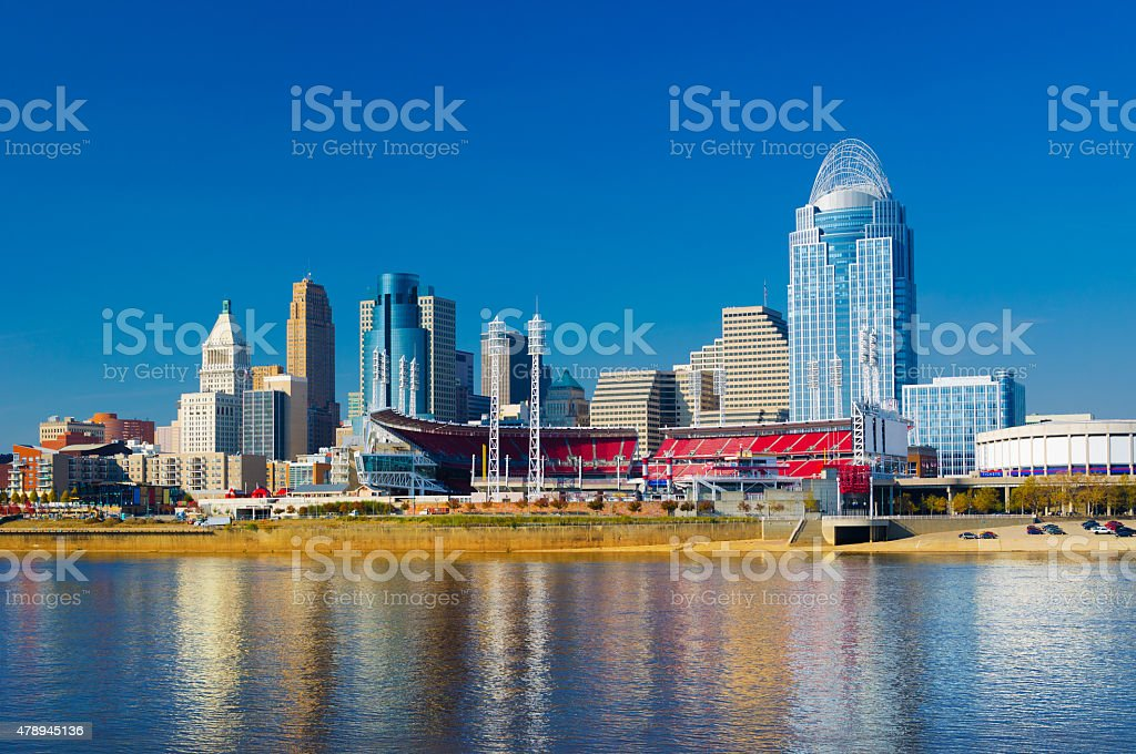 Cincinnati Downtown Skyline, Great American Ball Park and Ohio River stock photo