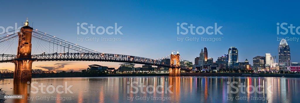 Cincinnati Night Skyline stock photo