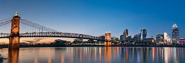 Cincinnati Night Skyline John A. Roebling Suspension Bridge and Cincinnati skyline at night from across the Ohio River cincinnati stock pictures, royalty-free photos & images