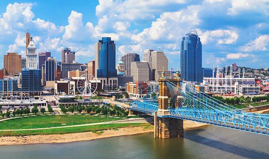 Cincinnati Ohio skyline with John Roebling bridge aerial view