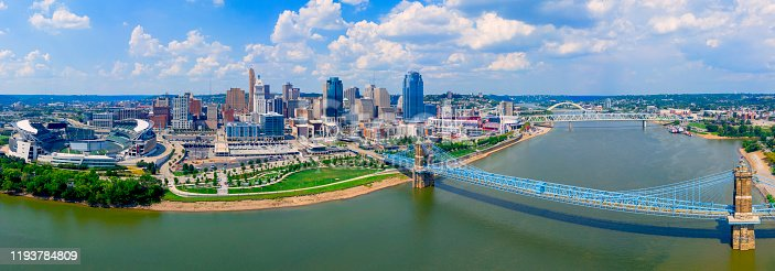 Cincinnati Ohio skyline aerial view summer
