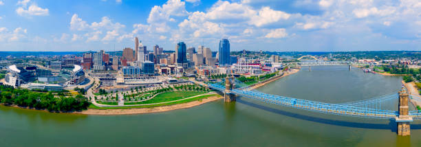 Cincinnati Ohio skyline with John Roebling bridge  aerial view summer stock photo
