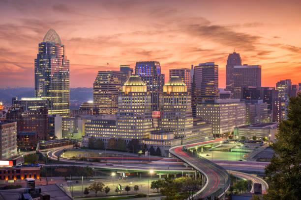 Cincinnati, Ohio, USA Cincinnati, Ohio, USA cityscape at twilight. cincinnati ohio skyline stock pictures, royalty-free photos & images