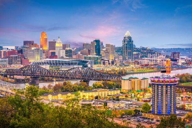 Cincinnati, Ohio, USA Skyline Cincinnati, Ohio, USA skyline at dusk. cincinnati stock pictures, royalty-free photos & images
