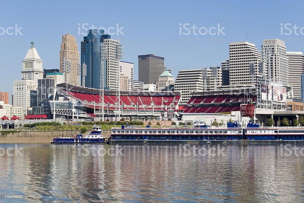 Cincinnati Riverfront Skyline with Great American Ballpark stock photo
