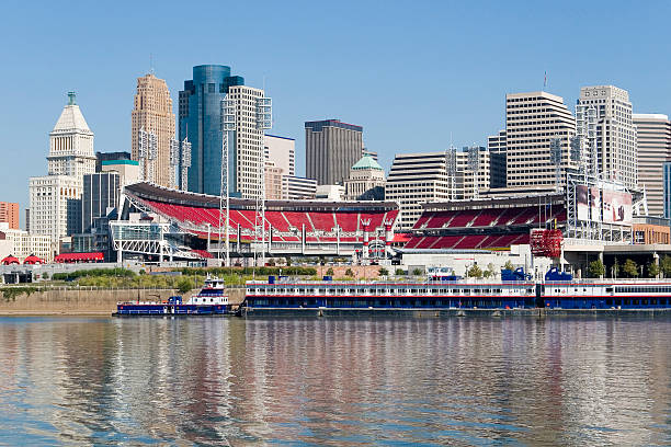Cincinnati Riverfront Skyline with Great American Ballpark Cincinnati Downtown Cityscape with Great American Ballpark and the Ohio river in foreground.Please see some similar images from my portfolio: cincinnati stock pictures, royalty-free photos & images