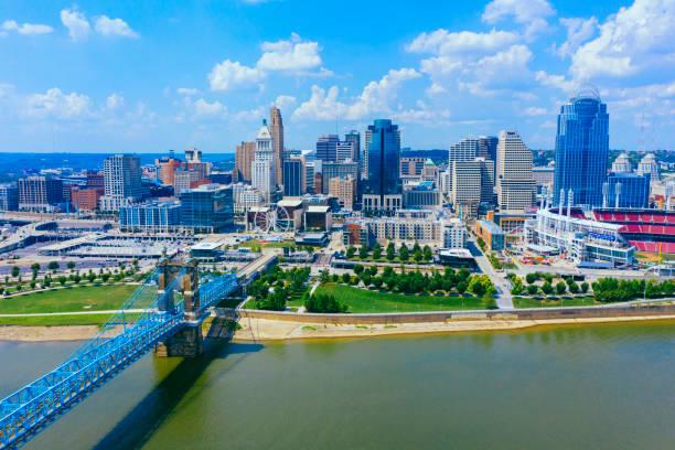 Cincinnati skyline aerial view with Ohio river stock photo