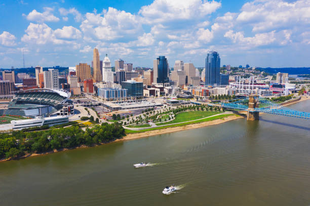 Cincinnati skyline aerial view with Ohio river stock photo