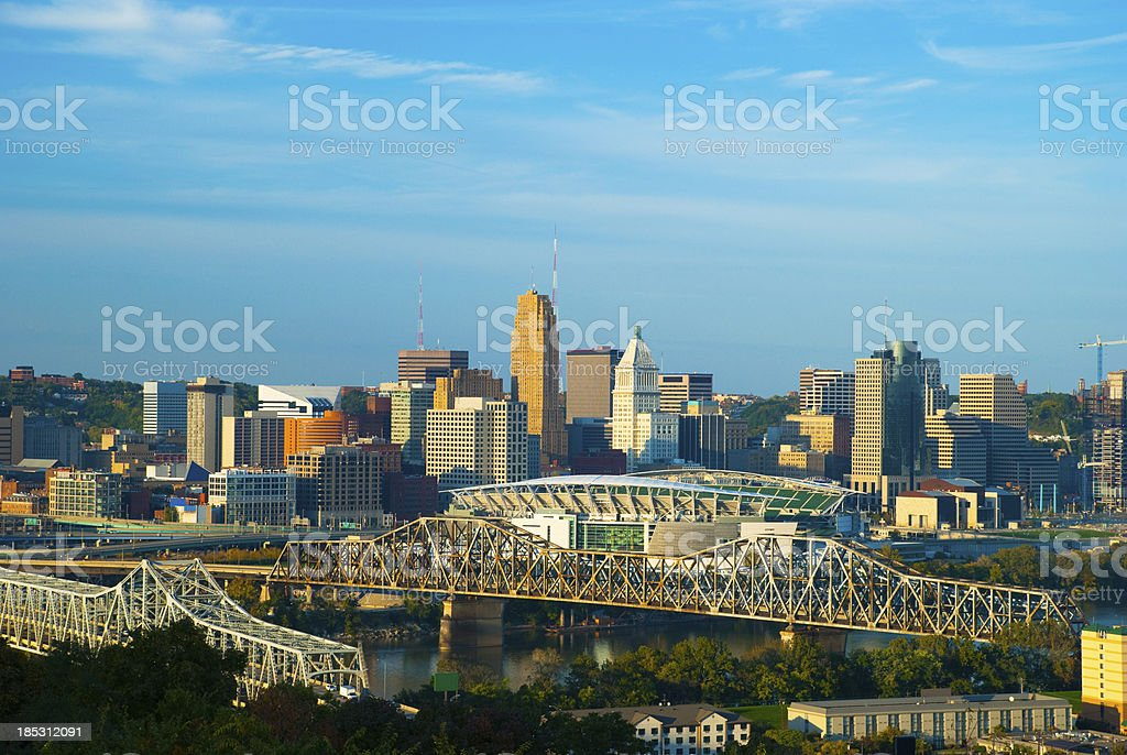Cincinnati Skyline and Bridges royalty-free stock photo