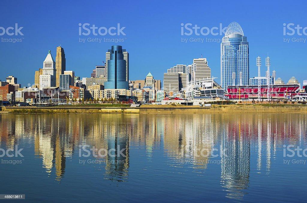 Cincinnati Skyline and Ohio River royalty-free stock photo