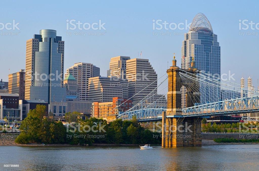 Cincinnati Skyline and Ohio River stock photo