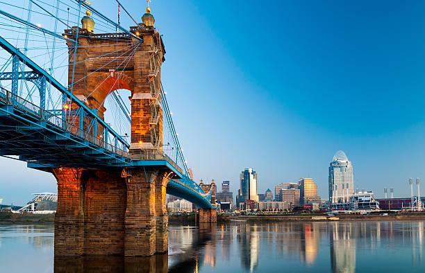 Cincinnati skyline and Roebling Suspension Bridge at dawn stock photo