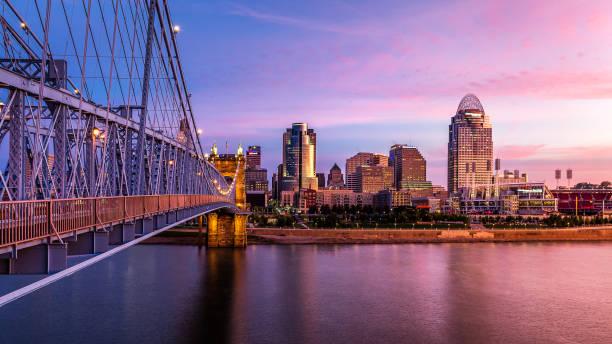 Cincinnati Skyline at sunset Cincinnati Skyline at sunset cincinnati stock pictures, royalty-free photos & images