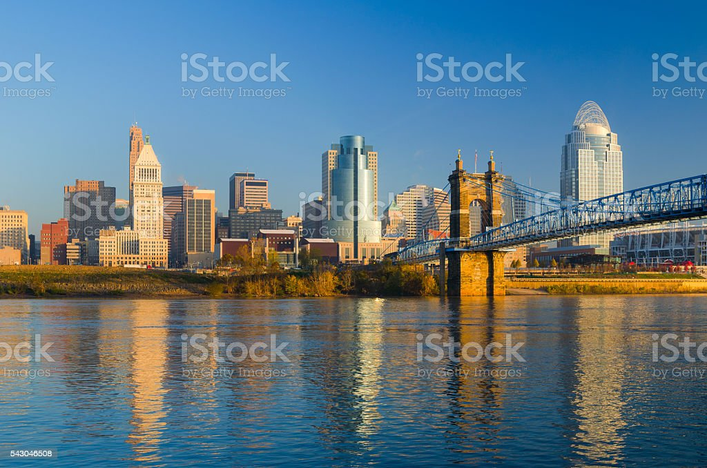 Cincinnati Skyline, Bridge, and River in the Morning stock photo