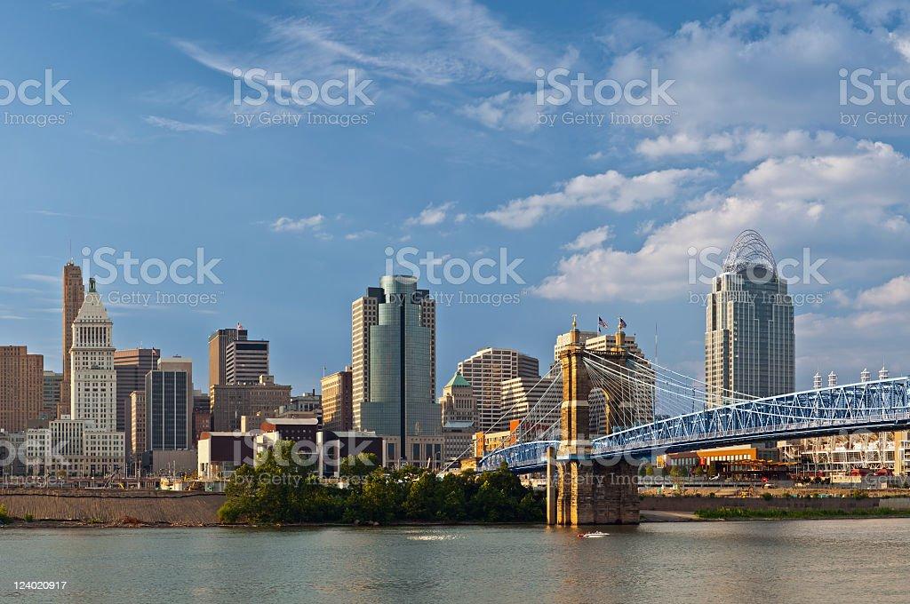 Cincinnati skyline overlooking the river stock photo