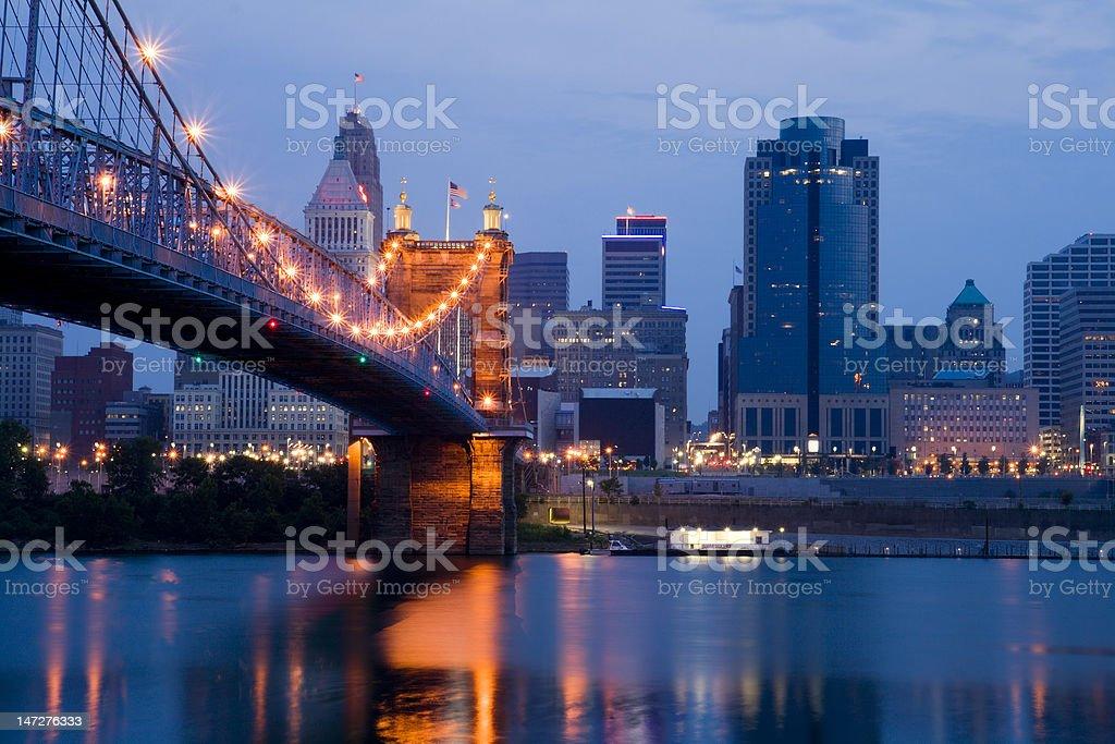 Cincinnati Skyline with Roebling Bridge and Ohio River at Night. stock photo
