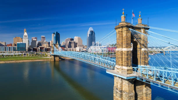Cincinnati's Roebling Suspension Bridge With Downtown Skyline, Elevated View stock photo