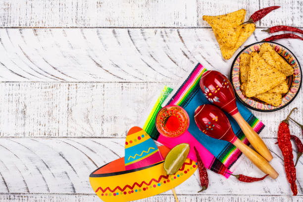 Cinco de Mayo Celebration background Cinco de Mayo celebration background. 5th May Mexican party or Day of the Dead celebration. Copy space carnival celebration event stock pictures, royalty-free photos & images