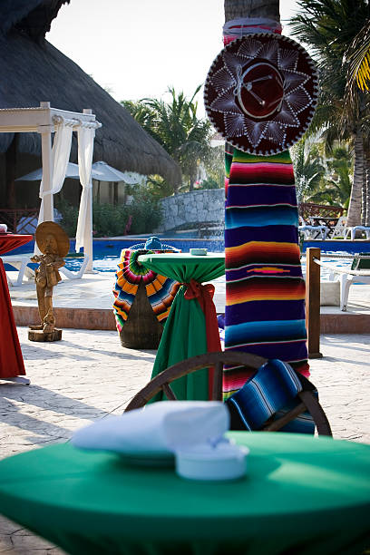 cinco de mayo decorations at tropical mexican resort, nobody - cinco de mayo party stock photos and pictures