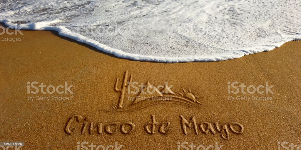 Cinco De Mayo Sand Wave Beach Text. Photo image stock photo