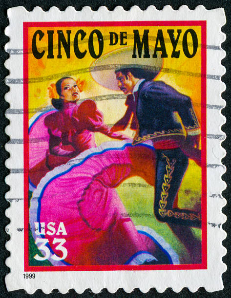 cinco de mayo stamp - cinco de mayo stock photos and pictures