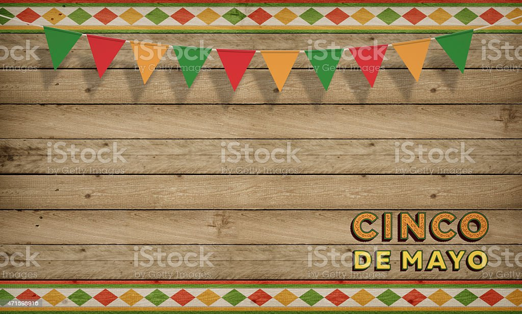 Cinco de Mayo, USA Mexican Celebration, Backgrounds. Wood copy space stock photo