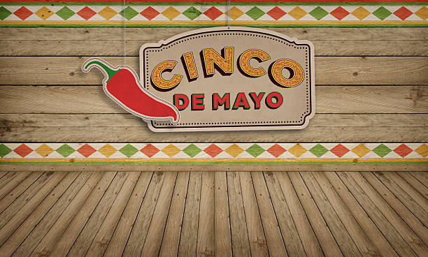 cinco de mayo, usa mexican celebration, backgrounds. wood with text - cinco de mayo party stock photos and pictures