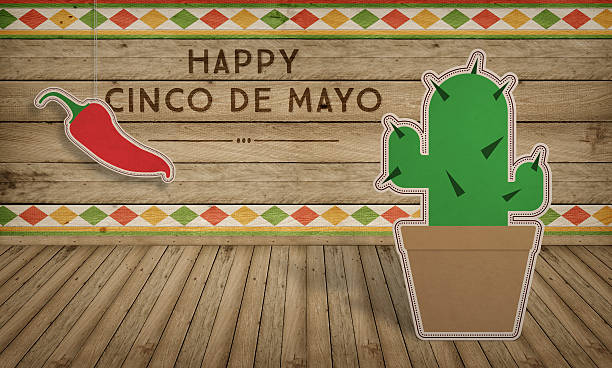 Cinco De Mayo USA Mexican Celebration Backgrounds Wood With Text Stock Photo