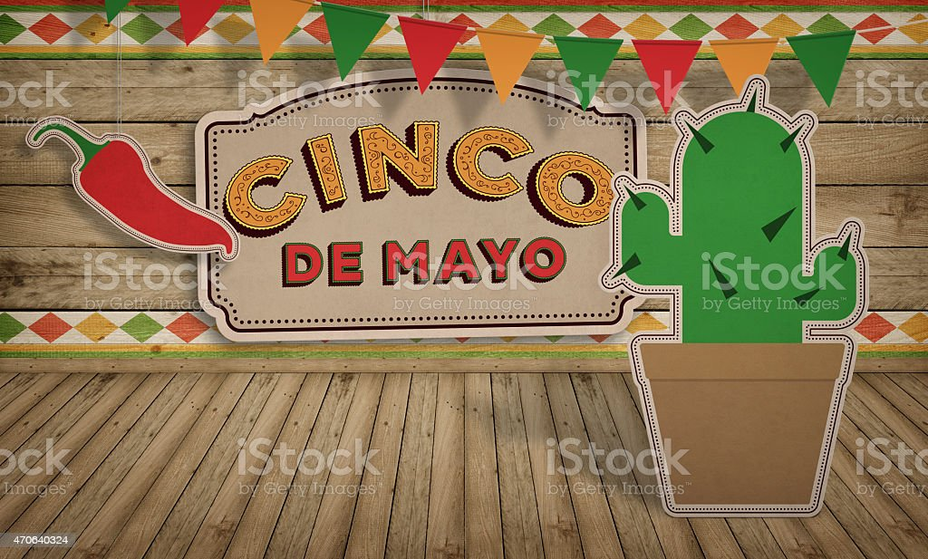 Cinco de Mayo, USA Mexican Celebration, Backgrounds. Wood with text stock photo