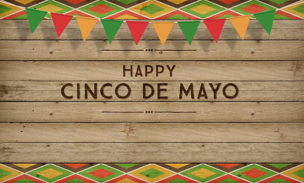 cinco de mayo, usa mexican celebration, backgrounds. wood with text - cinco de mayo stock photos and pictures