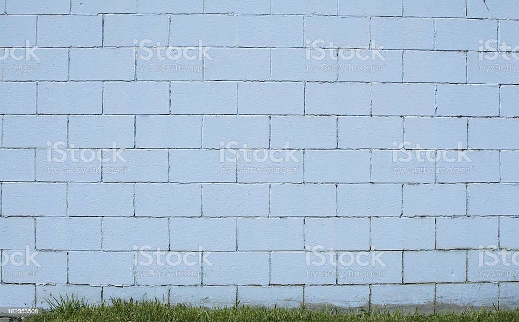 Cinder Block Wall Background, Painted in Blue stock photo