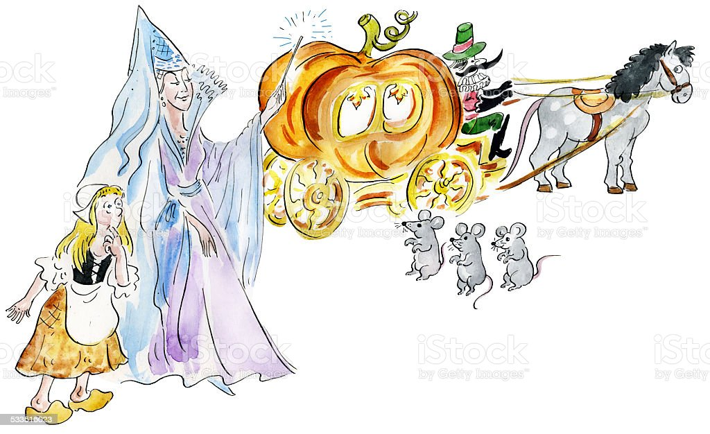 Cinderella and fairy godmother making fairy pumpkin carriage stock photo