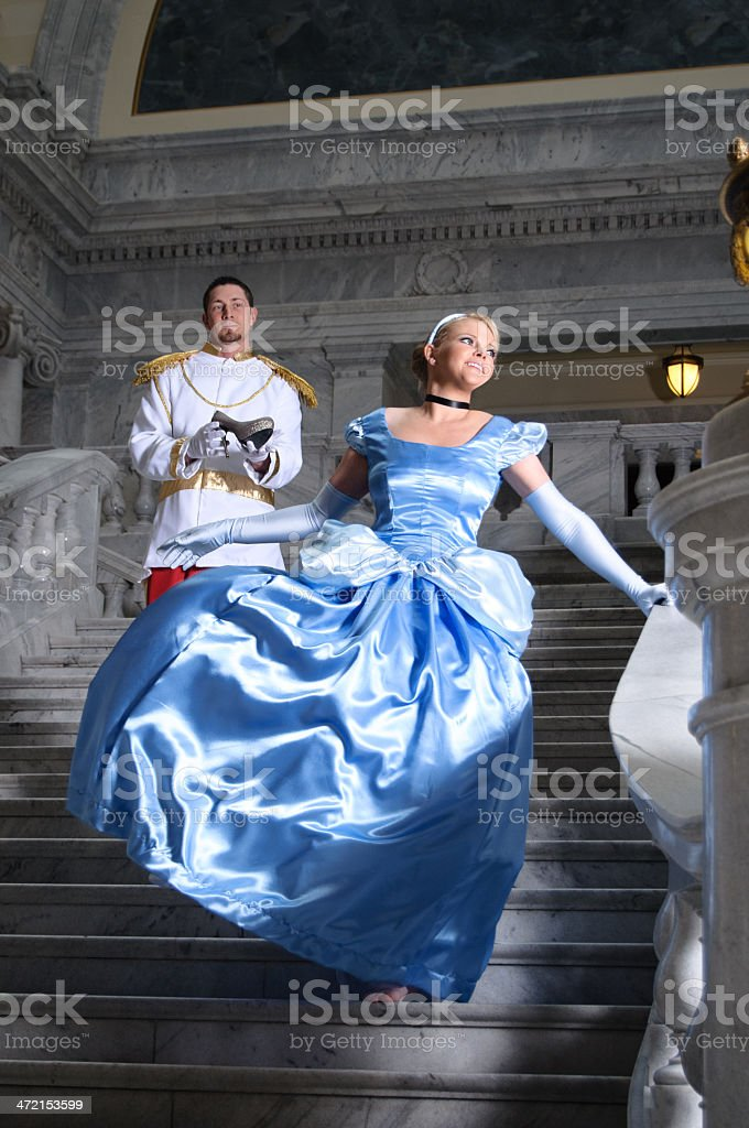 Cinderella and Prince Charming royalty-free stock photo