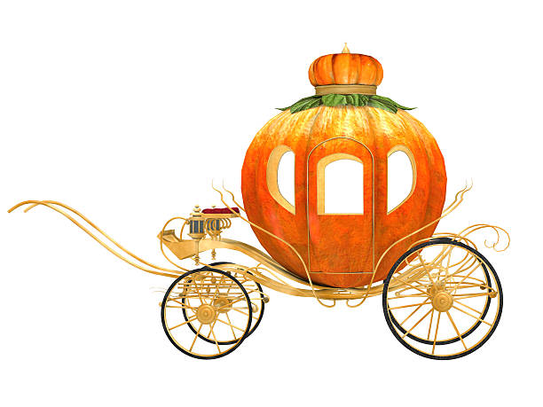 Cinderella fairy tale pumpkin carriage, isolated stock photo