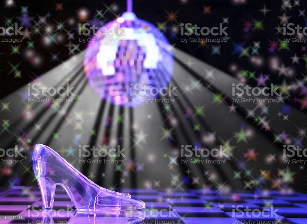 Cinderella glass slipper and disco ball stock photo