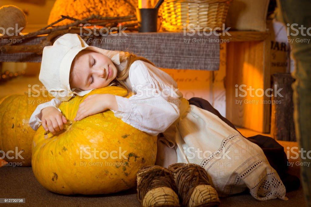 Cinderella Near Fireplace Rest After Hard Work stock photo