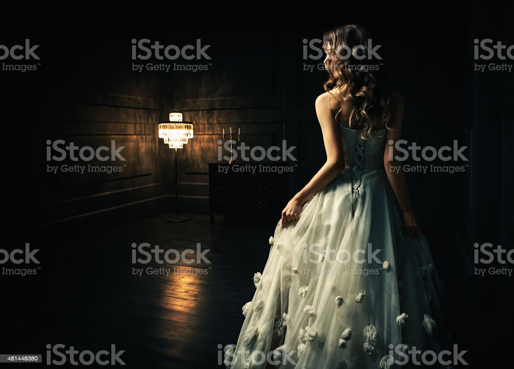 Cinderella Young girl in a white dress 2015 Stock Photo