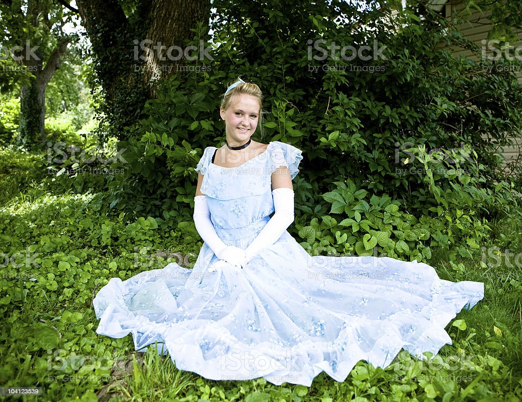 Cinderella Sitting In the Leaves stock photo