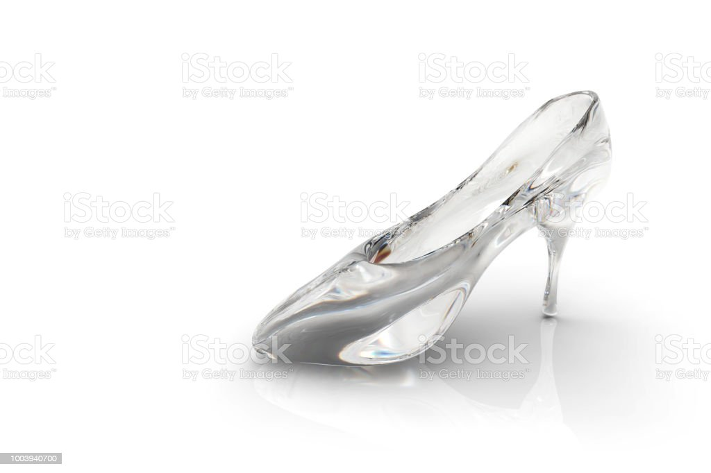 ae68b4cbd4996a Cinderella s glass slipper isolated on a white background  3D rendering -  Stock image .