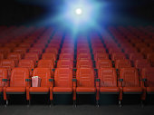Cinema and movie theater concept background. Empty rows of red seats with pop corn. 3d illustration
